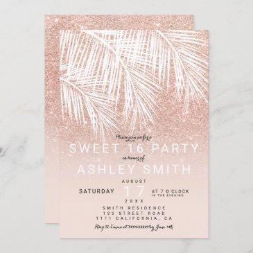 modern rose gold blush palm tree elegant sweet 16 invitation