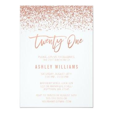 Small Modern Rose Gold Faux Glitter 21st Birthday Invitations Front View