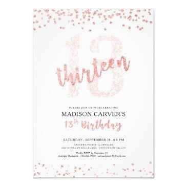 modern rose gold glitter confetti 13th birthday invitation