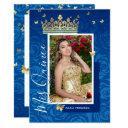 modern royal blue gold elegant photo quinceanera invitation