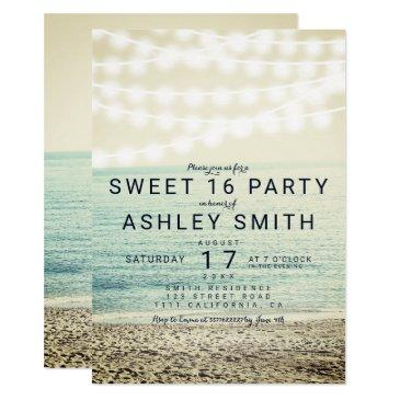 modern string lights beach photo sweet 16 invitations