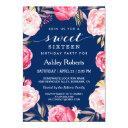 modern sweet 16 birthday navy blue floral wreath invitations