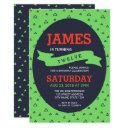 modern triangle green and blue birthday invitations