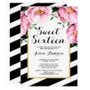 modern watercolor floral stripes sweet 16 invitation