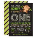 monkey 1st birthday invitation for a boy