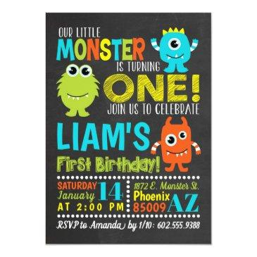 Small Monster 1st Birthday Party Invitations Front View