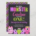 monster 1st birthday party invitation for girl