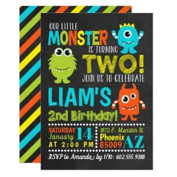 monster 2nd birthday party invitation