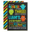 monster 3rd birthday party invitations