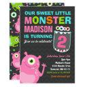 monster birthday invitations pink monster party