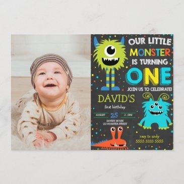 monster first birthday boy little monster photo invitation