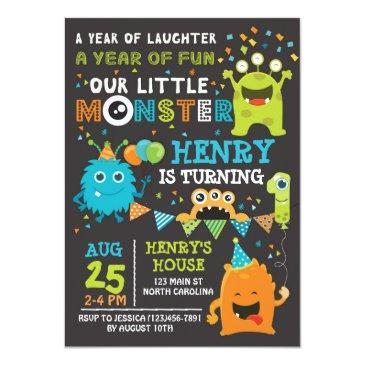 Small Monster First Birthday Invitation, Monster Invite Front View