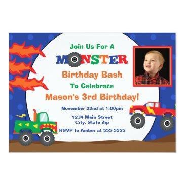 monster truck birthday invitation photo invitations