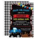 monster truck birthday invitation checkered flag
