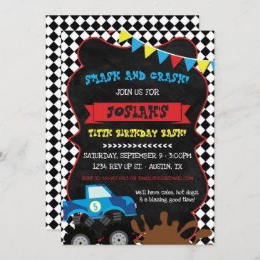 monster truck birthday invitation checkered flag