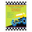 monster truck birthday party for boys invitation
