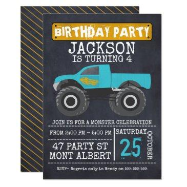 monster truck chalboard birthday party invitation