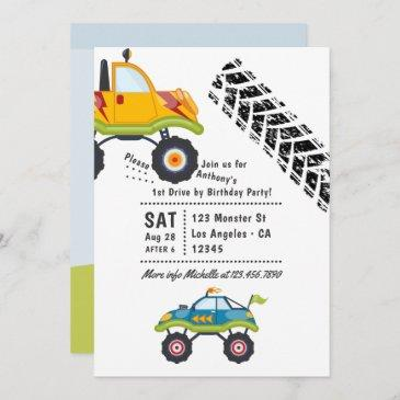 monster truck drive by birthday party invitation