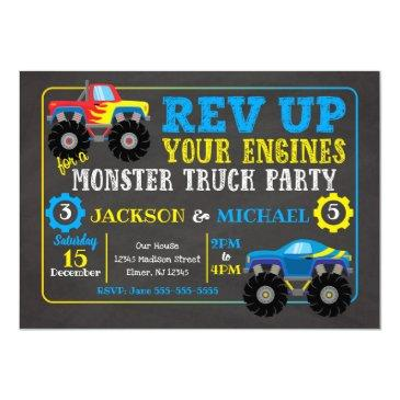 monster truck joint birthday invitation
