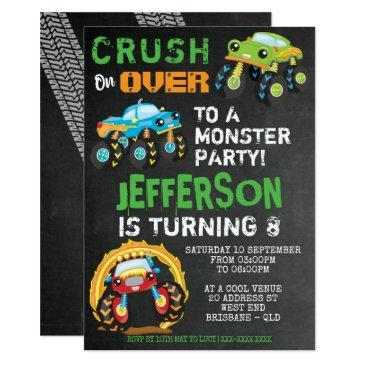 monster truck kids birthday party invitation