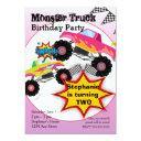 monster truck kids girls birthday party invitation