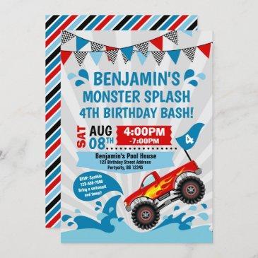 monster truck pool party summer birthday invitation