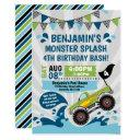 monster truck pool party summer birthday invitation