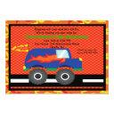 monster truck with flames birthday invitations