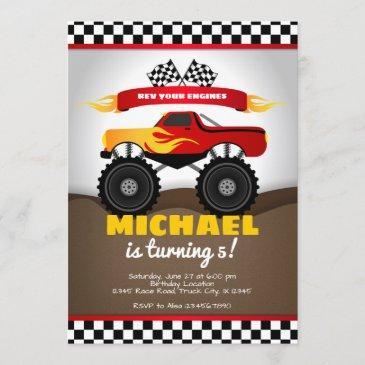 monster trucks birthday invitation for boy
