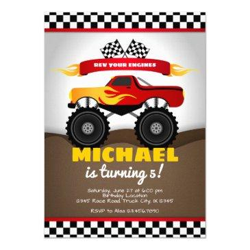 monster trucks birthday invitation for boy