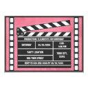 movie birthday party clapboard red invitations
