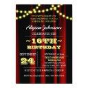 movie lights yellow sweet 16 invitation