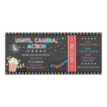 movie night birthday invitations movie ticket party