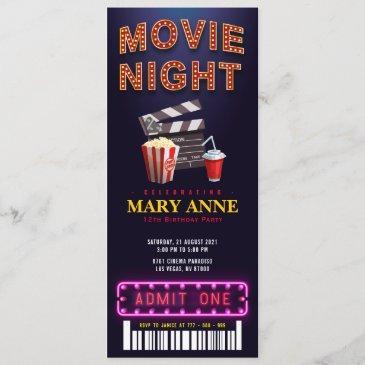 movie night birthday party ticket pass birthday invitation