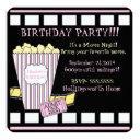 movie night popcorn film strip pink girls party invitation
