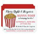 movie night sleepover popcorn birthday party red invitations