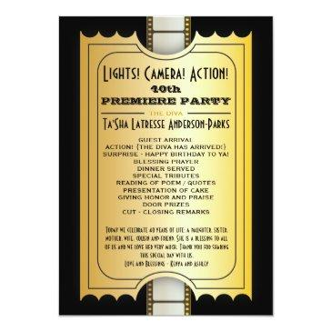 movie party program golden admission ticket