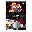 movie theme 2 photo strip cinema popcorn party invitation