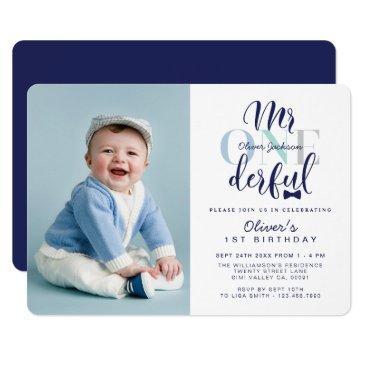 mr one derful navy & blue 1st birthday photo invitation
