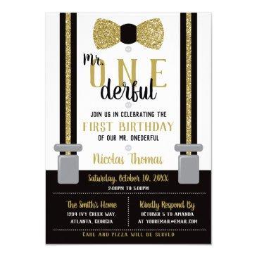 mr. onederful birthday invitation, black, gold invitation
