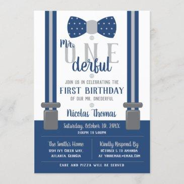 mr. onederful birthday invitation, blue, gray invitation