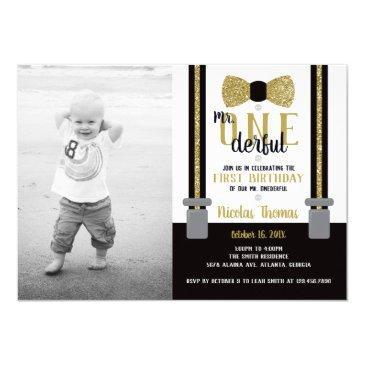 mr. onederful birthday party invitation