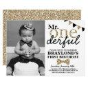 mr onederful photo invitations, black and gold invitations