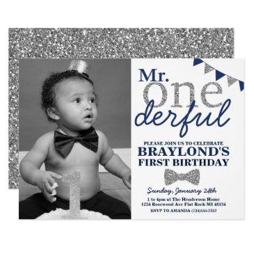 mr onederful photo invitation, blue and silver invitation