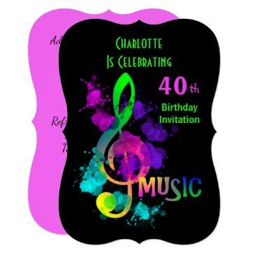 music themed celebration party personalized invitation