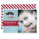 mustache & bow tie photo birthday party invitations