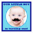 mustache boy blue stripe birthday invitations