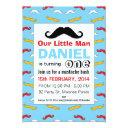 mustache little man 1st birthday party invitations