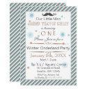 mustache winter wonderland 1st birthday party invitation