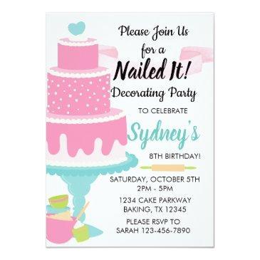 nailed it cake decorating baking birthday party invitation